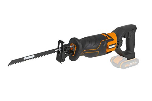 WORX WX500.9 Akku-Säbelsäge 20V – Akkusäge zum Schneiden von Holz, PVC, Stahl u. v. m. – Verstellbare Fußplatte, variable Geschwindigkeit – Ohne Akku und Ladegerät