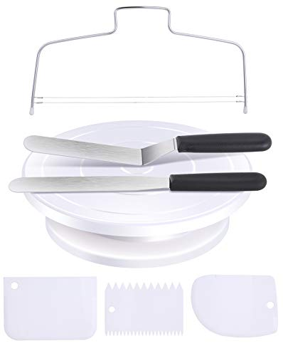 Cake Turntable for Decorating Ohuhu Cake Decorating Tools 11 Inch Rotating Cake Stand with 2 Icing Spatula 3 Icing Smoother and Cake Leveler