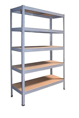 Shelf Creations Industrie Steckregal grau 200x100x50 cm mit 5 Böden Schwerlastregal aus Metall verzinkt: Lagerregal geeignet als Kellerregal, Haushaltsregal, Archivregal, Ordnerregal, Werkstattregal