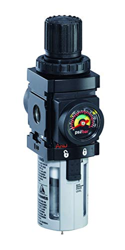 "Ingersoll Rand ARO P39344-600-VS Air Filter-Regulator Piggyback, 1/2"" NPT - 150 psi Max Inlet,Black"