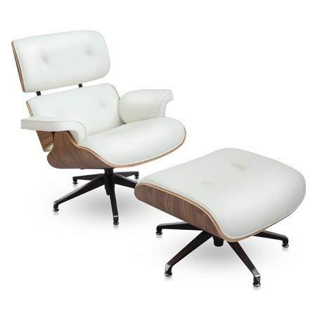 furnigo   Designer Sessel und Fußstütze, Premium Italian Leather, Reproduktion, Zeitlos, Szwarz und Weiß Farben, Reproduktion, Zeitlos (Weiß/Walnuss)