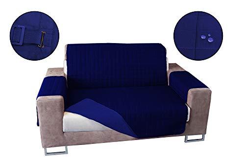 Banzaii Cubre Sofá Impermeable – Funda Sofá Acolchada Reversible – 1 Plaza Azul y Azul Claro para Asiento de 55 a 80 cm
