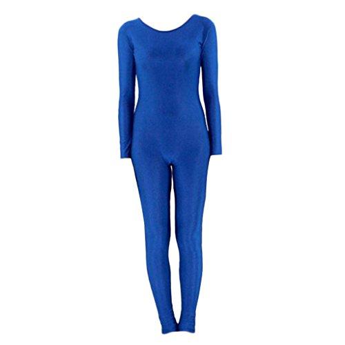 Baoblaze Damen Ganzkörper Anzug Kostüm Zentai Jumpsuit Spandex Body Catsuit Overall Einteiler Tanzkleidung Fasching Karneval - blau l