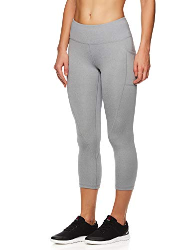 Reebok Women's Printed Capri Leggings with Mid-Rise Waist Cropped Performance Compression Tights - Grey Stone Heather, Medium