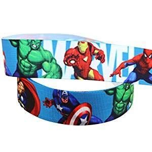 Pimp My Shoes Dekoband/Ripsband für Kuchen/Geschenke etc., Design: Superhelden aus den Avenger-Comics von Marvel, 22mmx2m