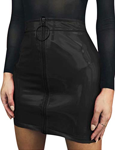 Frecoccialo Minifalda de Mujer con Cremallera Falda de Cuero Cintura Alta Lápiz Corto Elegante Moda PU Elegante para Fiesta Danza Casual Damas Wet Look Bodycon Clubwear