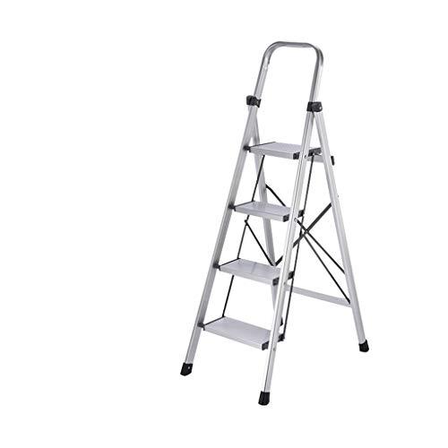 KJZ Escaleras Baranda, portátil escaleras de tijera Técnica doméstica aleación de aluminio de escaleras de tijera Escaleras Stool 3-Escaleras de mano 4-Escaleras plegable taburete de flor de la planta