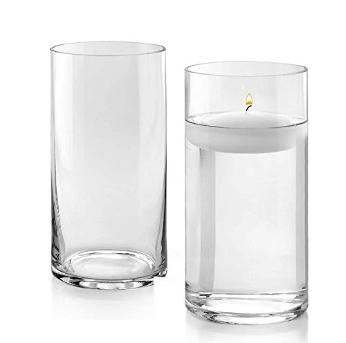 Set of 2 Glass Cylinder Vases 10 Inch Tall X 6 Inch Round - Multi-use: Pillar Candle, Floating Candles Holders or Flower Vase – Perfect as a Wedding Centerpieces.