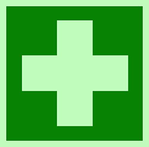 Symbolschild Erste Hilfe DIN Kunststoffplatte nachleuchtend + selbstklebend 150x150mm orig. ANDRIS® KNS®