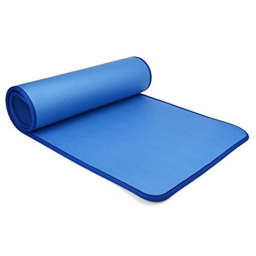 Kuingbhn Esterilla de yoga de 10 mm de grosor, cómoda alfombrilla de entrenamiento deportiva antideslizante para gimnasia y gimnasio en casa (tamaño: 183 x 61 x 0,1 cm; color: azul)