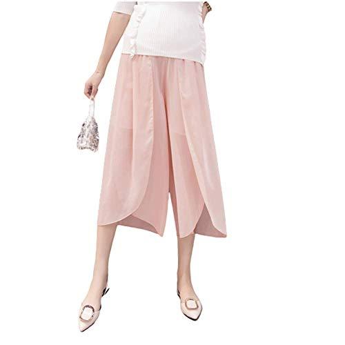 Pantalones De Pierna Ancha De Gasa De Maternidad Moda De Verano Ranuras De Gasa Mujeres Embarazadas Pantalones De Elevación del Vientre Culottes Sueltos