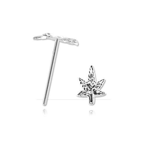 Andralok Nasenpiercing Silber Cannabis–Armreif/Schaft 0,6mm, Länge 9mm, Element 4.1mm