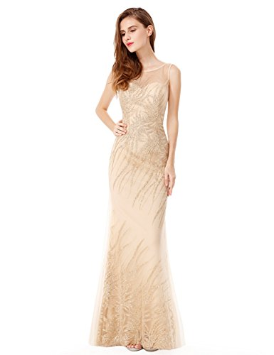 Ever-Pretty Womens Sleeveless Floor Length Glitter Prom Dress 8 US Gold