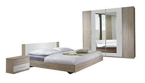 Wimex Schlafzimmer Set Franziska, Bestehend Aus Bett, Nachtschrank und Schrank, Liegefläche 180 x 200 cm, Mehrfarbig