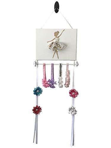 Bead&Cord Ballerina on 9'x12' Canvas Hair Bow and Baby Elastic Headband Hairband Organizer (Gold Heart)
