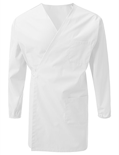 7 Encounter Unisex Multifuctional Wrap Smock with Chest and Side Pockets White Size 2XL/3XL