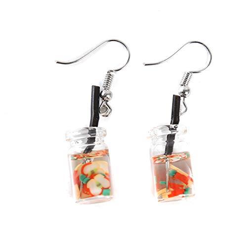 CH Cute Pearl Milk Tea Dangle Earrings Funny Earrings for Women Girls Valentine's Day Earrings,Apple
