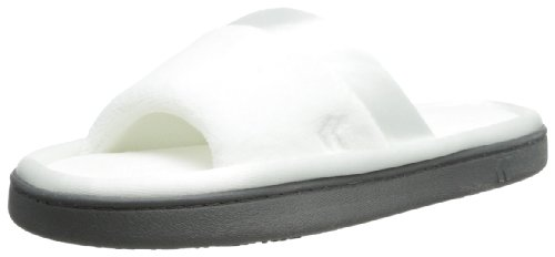 isotoner Women's Microterry Slide Slipper with Satin Trim, White, 8.5/9