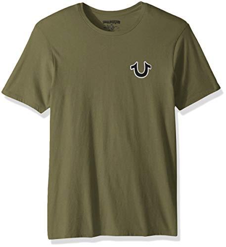 True Religion Men's Buddha Logo Short Sleeve Tee, Militant Green, XL
