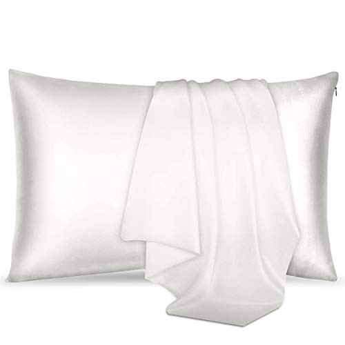 Leafbay 100% Pure Mulberry Silk Pillowcase for Hair & Skin, 600 Thread Count, Hypoallergenic, Allergen Proof Dual Sides 19 Momme Silk Bed Pillow Cases with Hidden Zipper 1pc (Standard 50x75cm, Ivory)