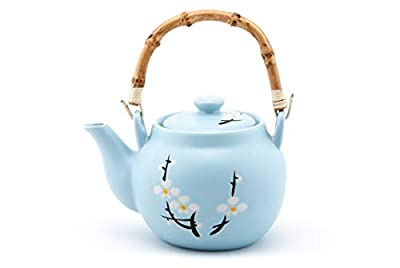 Japanese Soushun Early Spring Cherry Blossom Design Sky Blue Oriental Style Ceramic Teapot with Rattan Handle 40 fl oz Tea Pot Kettle with Stainless Steel Infuser Strainer