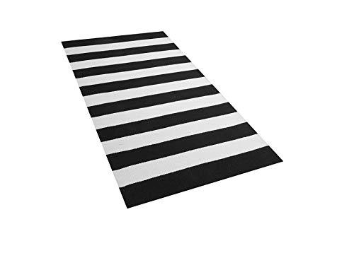 Beliani Terasseteppich Balkonteppich mit schwarz-weißen Streifen 80x150 Tavas