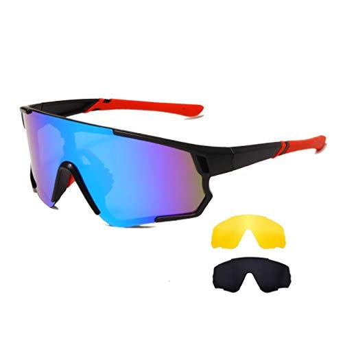 Long Keeper Occhiali Ciclismo Polarizzati con 3 Lenti Intercambiabili Occhiali da sole Sportivi da Uomo Donna UV400 Protezione per Corsa Bici Sport (Grigio + Giallo + Blu)