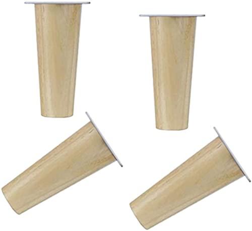 FTYYSWL 4 patas de repuesto de sofá de patas de muebles de madera maciza, tipo cono recto DIY mesa mesa de café patas aumentó engrosamiento