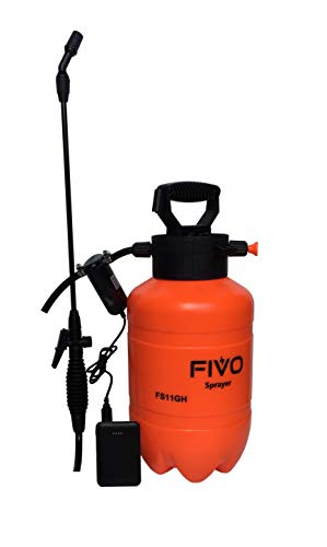 FIVO Battery Powered Sprayer and Pressure Sprayer Dual Functions for Lawn and Garden with Rechargeable 5V 5000mAh Lithium Ion Power Bank and Shoulder Strap (1.3 Gallon)