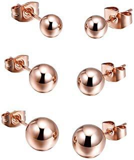 Pendientes unisex de acero inoxidable y titanio con esfera de color bronce brillante