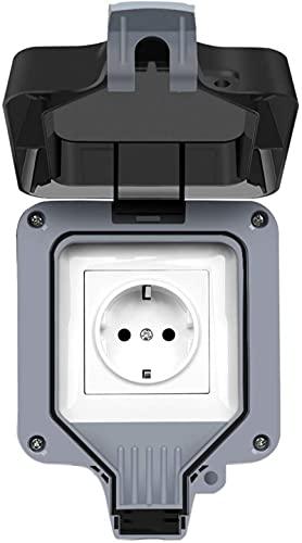 Enchufe exterior IP66 resistente a la intemperie, toma de pared para exteriores con tapa, enchufe de pared antipolvo para cocina, cuarto de baño, garaje, piscina y jardín (Single Enchufe)