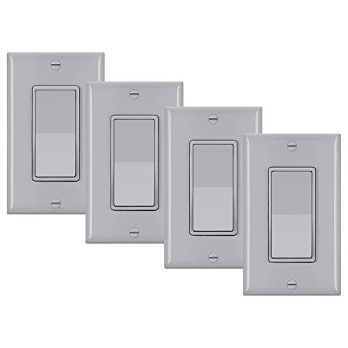 4 Pack BESTTEN 3Way Wall Light Switch with Wallplate 15A 120/277V On/Off Rocker Paddle Interrupter UL Listed Grey