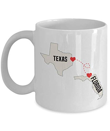 Florida and Texas - Love Knows No Distance - Long Distance Relationship Coffee Mug, Tea Cup for Him, Her, Friends, Family