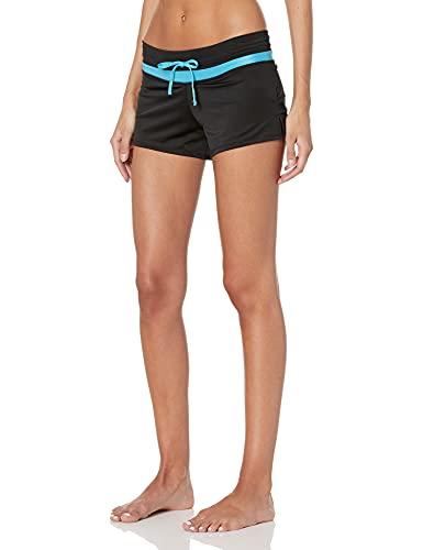 Kanu Surf Women's Standard Swimsuit Beach Shorts Tankini Bottom Boyshorts with Liner, Black/Aqua, Small