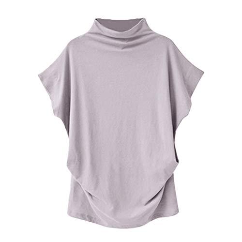 iHENGH Damen Top Bluse Bequem Lässig Mode T-Shirt Frühling Sommer Blusen Frauen Rollkragen Kurzarm Baumwolle Solide Casual Top(Hellgrau, L)