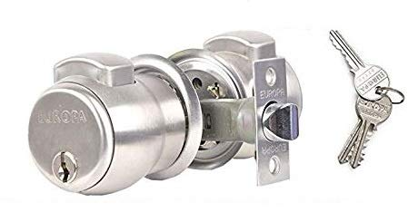 Europa Feather Touch Press Button Cylindrical Lock (C120 with 3 Normal Keys, Only for Bed Room)