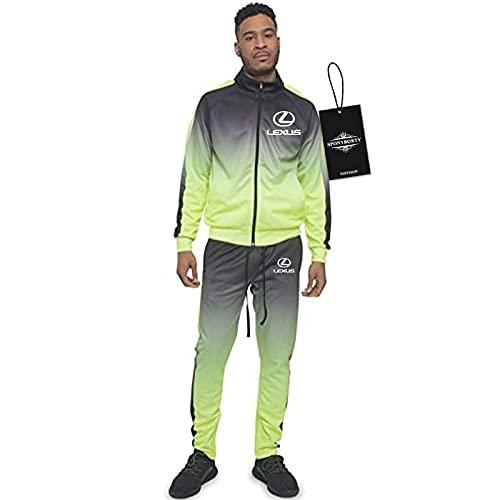 BOYASI de Los Hombres Chandal Conjunto Trotar Traje LEx-Us Hooded Zipper Chaqueta + Pantalones Capucha Baloncesto Ropa Niños/Verde/L