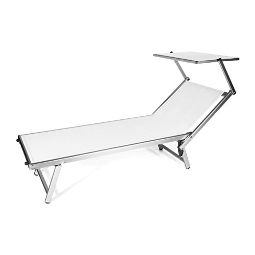 VERDELOOK Rimini Beach Bed with Sunshade 186 x 61 x 38 cm, White