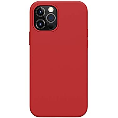"""Nillkin Case for Apple iPhone 12 / Apple iPhone 12 Pro (6.1"""" Inch) Flex Pure Pro Magsafe Cover Case Liquid Silicon Magnetic Function Anti Finger Print with Inner Microfibre Red Color"""