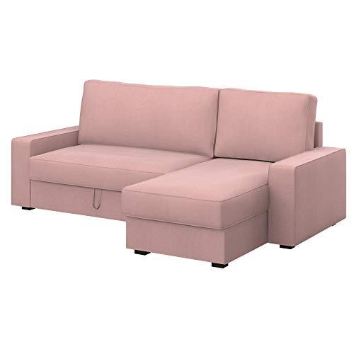 Soferia Funda de Repuesto para IKEA VILASUND Funda sofá Cama con chaiselongue, Tela Majestic Velvet Blush Pink, Rosa