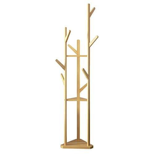 percheros para Muebles, Perchero de bambú de pie, Perchero de Suelo, Ramas de Dormitorio de Estilo Europeo, Perchero con 3 Niveles, 9 Ganchos para Ropa, Bufandas y Sombreros 175 cm (Alto)