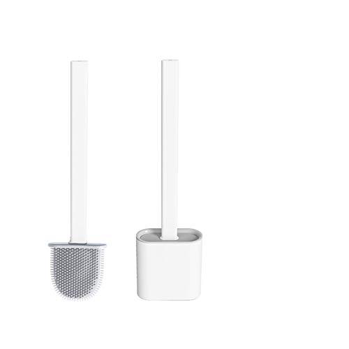 Yuanyiheng toilettenbürste wc bürste aus Silikon ,klobürste Toilettenbürsten für Badezimmer mit schnell trocknendem Haltersatz Kann gestellt oder aufgehängt Werden(Weiß)
