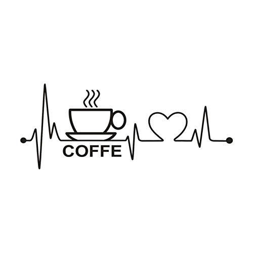 Kaffee Herzschlag Zitat abnehmbare Kunst Vinyl Wandbild Wohnkultur Wandaufkleber 3D Diy Poster Muursticker Aufkleber Adesivos De Parede