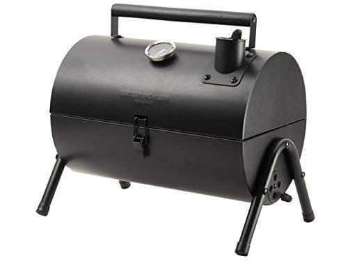 Mini 4-beiniger Smoker, Tischgrill, Standgrill, Balkongrill, Kohlegrill Grill mit Deckel aus stahl ,Abmessungen:38,5x26x26,5cm, ideal für Garten, Balkon, als Campinggrill oder als Tischgrill (Schwarz)