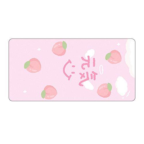 Alfombrilla de ratón grande de anime rosa para jugador, lindo Kawaii XL, alfombrilla de ratón para juegos Otaku, dobladillo grande, a la moda, para ordenador portátil, color gris