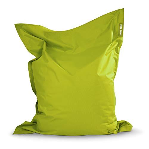 Green Bean © Square XXL Riesensitzsack 140x180 cm - 380L - Indoor Outdoor - waschbar, ergonomisch, doppelt vernäht, extrem robust, Abnehmbarer Bezug - Sitzsack für Kinder und Erwachsene - Grün
