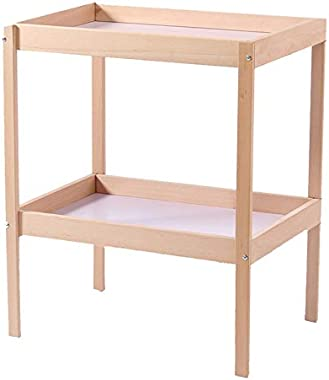 Wood Baby Changing Table, Changes Dresser Unit Infants Children Newborn Nursery Station Organization On Wheels - Wood Color
