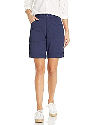 Lee Women's Flex-to-Go Relaxed Fit Utility Bermuda Short, Ink Blue, 10