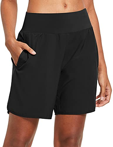 BALEAF Women's 7 Inches Long Running Shorts Back Zipper Pocketed Lounge Athletic Gym Shorts with Liner Black Size M