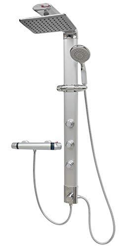 Duschpaneel mit Thermostat Regendusche Duschsystem Silber Massagedüsen Handbrause Shower Panel